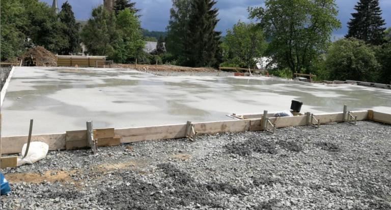 Giessen Der Bodenplatte Bungalow Bauen