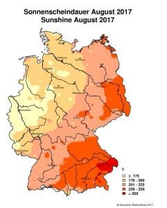 Deutscher Wetterdienst Sonnenstunden August